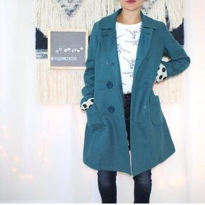 TULLE Heather Blue Double Breasted Wool Coat